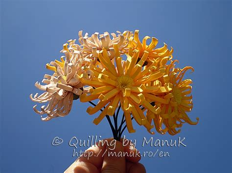 Quilling Chrysanthemum Tutorial | quilled chrysanthemum bouquet quilling by manuk