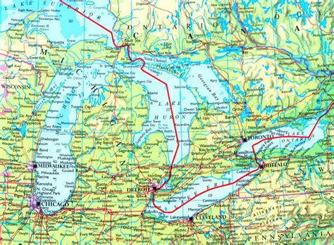 map of usa with lakes map of great lakes with cities and towns