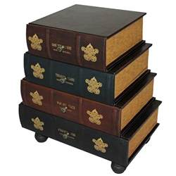 classic 4 drawer antiqued faux leather book series chest