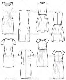 flat drawing template fashion flat sketches for day dress collection graphicriver