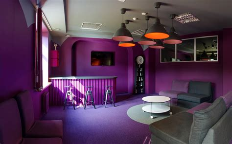 Blue Painted Bedrooms orange meets purple office lounge and recreational space