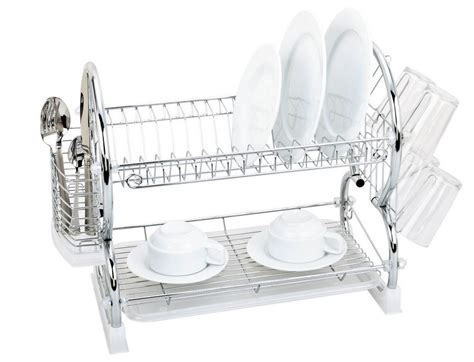 Two Tiered Dish Rack by 2 Tiers Kitchen Dish Drying Rack With Tray Silver