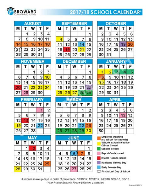Broward School Calendar 2017 2018 District Calendar Broward County
