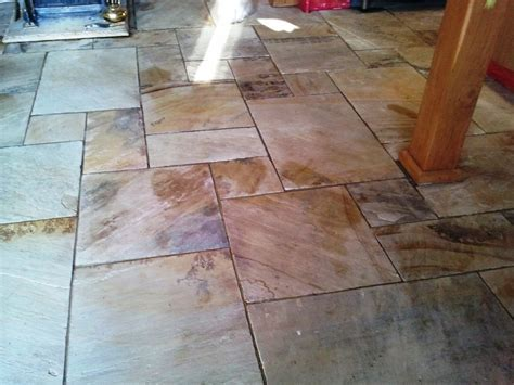 Beautiful Indian Sandstone floor deep cleaned in Guilford