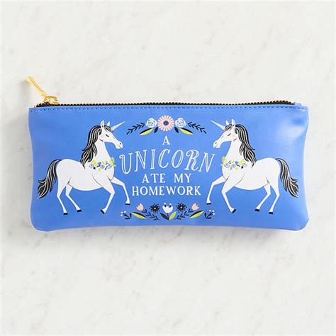 my ate a pencil unicorn zipper pouch the unicorn store