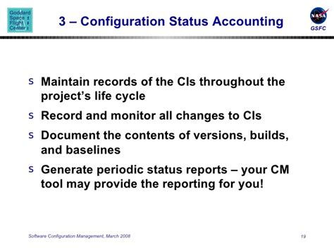 configuration status accounting report template software configuration management