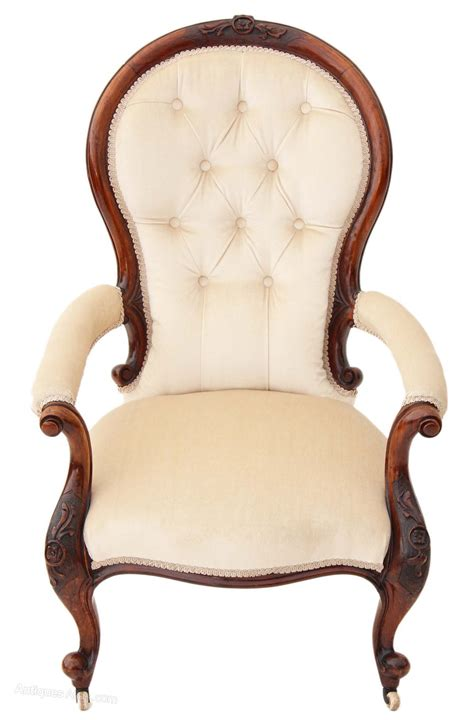 armchair antiques 19c victorian carved walnut button back armchair