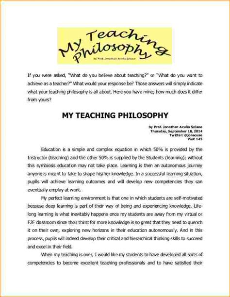 My Philosophy Of Education Essay by Essays On Educational Philosophy