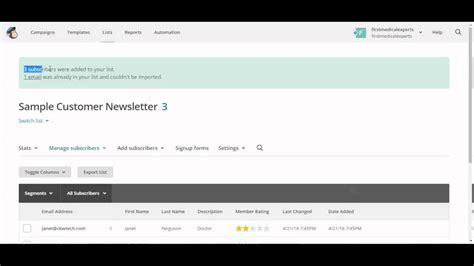 How To Create A List And Import Csv File Into Mailchimp Youtube Mailchimp Csv Template