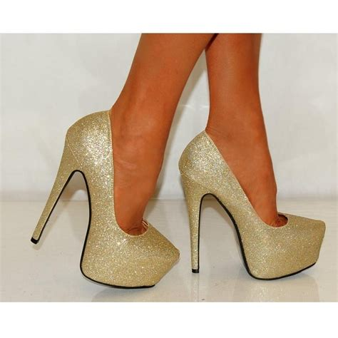 gold sparkly high heels koi couture gold glitter pink peep toes high heels