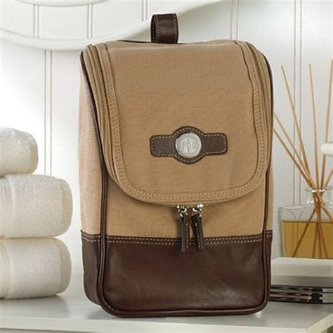 Personalized Mens Canvas & Leather Hanging Travel Kit
