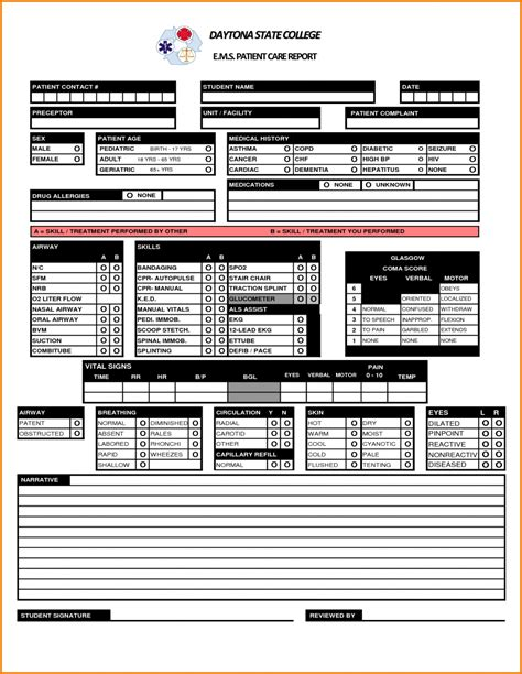 Patient Care Report Template Ambulance Form Prehospital Sle Auditms Narrativexles Patient Care Report Template
