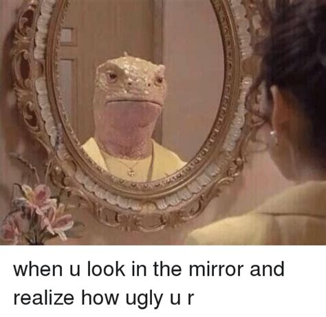 Looking In The Mirror Meme - when u look in the mirror and realize how ugly u r ugly