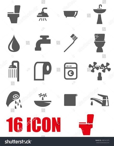 Bathroom Icon Set Vector Grey Bathroom Icon Set 308141375