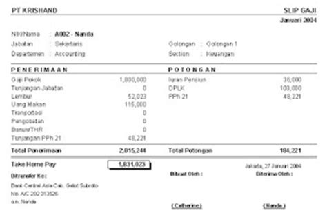 contoh format gaji honorer contoh slip gaji karyawan toko berikut komponen