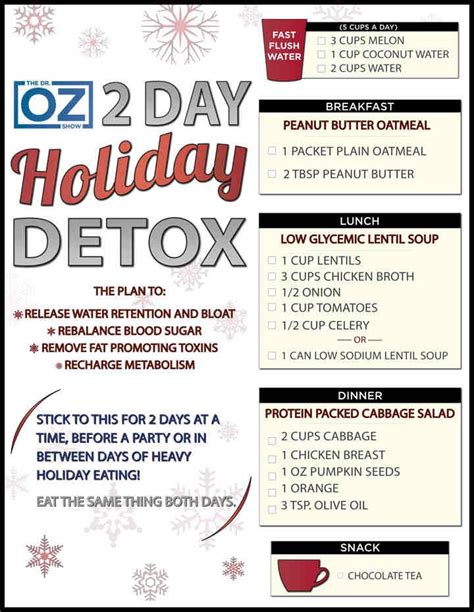 Dr Oz Detox Diet Plan by Dr Oz Two Day Detox Healthy Things