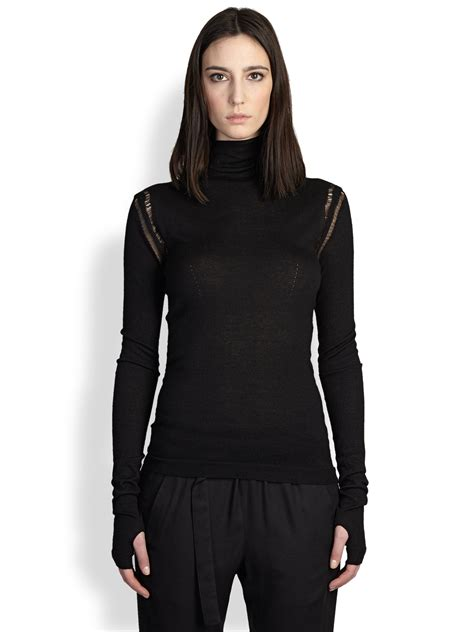 Lo644 Shoulder Turtle Neck Top demeulemeester open shoulder turtleneck sweater in