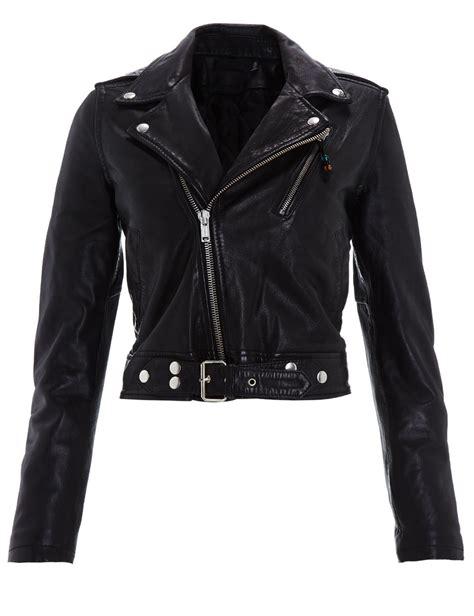 black leather jacket blk dnm cropped leather biker jacket in multicolor black lyst