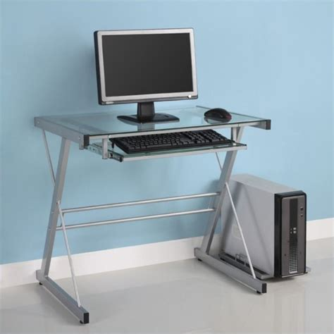 Top Computer Desk by Walker Edison Small Glass Top Computer Desk In Silver
