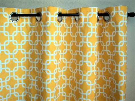 Yellow Patterned Curtains Grommet Top Drapes Corn Yellow Window Curtains Geometric Pattern Metal Grommet Curtains 170