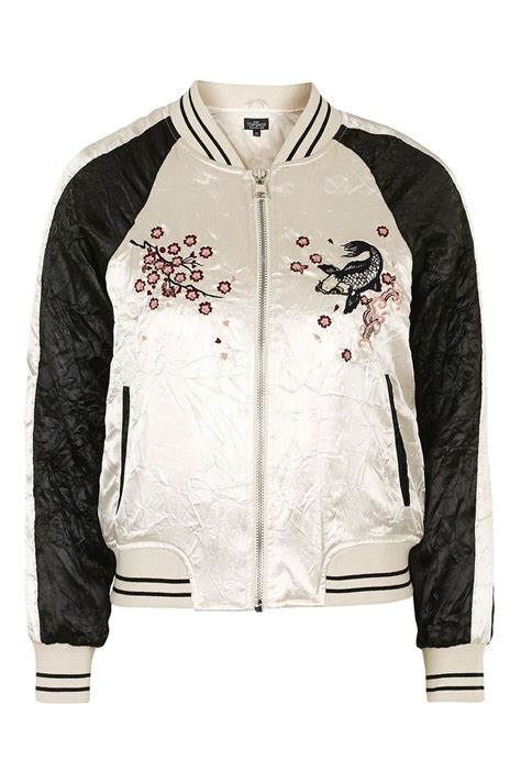 design an embroidered jacket contrast embroidered bomber jacket topshop usa