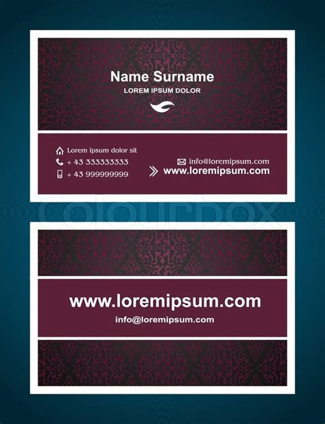 Template To Pring A Front And Back Card by Business Card Creative Design Vintage Style Print