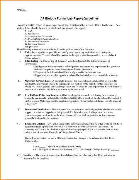 Biology Lab Report Template Biology Lab Report Template 3 Professional And High