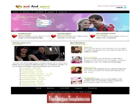 dating site template free free dating website templates