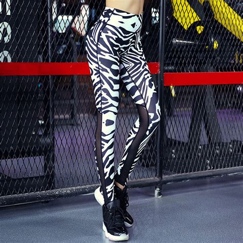 zebra stripes print mesh splice top quality sporting fitness slim