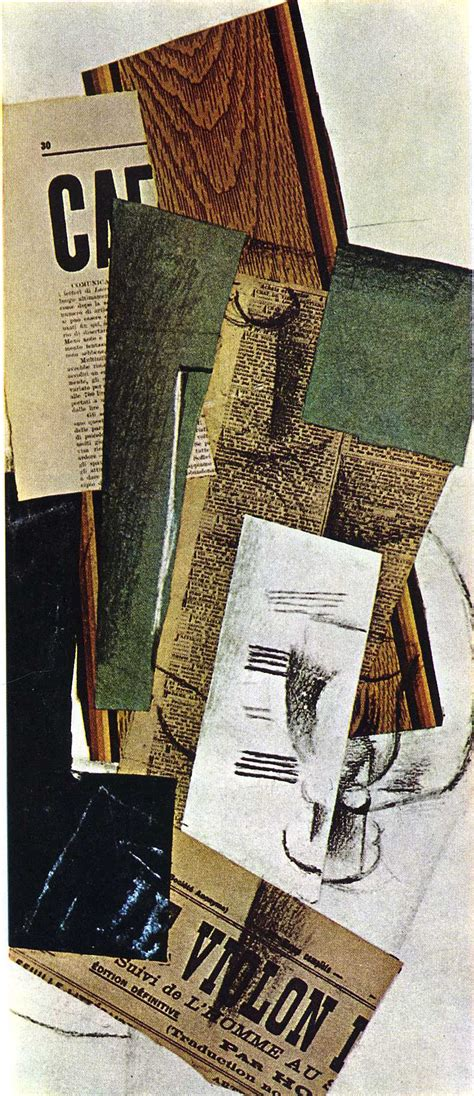 braque collage glass carafe and newspapers 1914 georges braque
