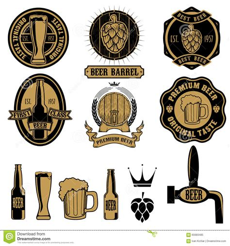 design logo label set of beer labels and design elements stock vector