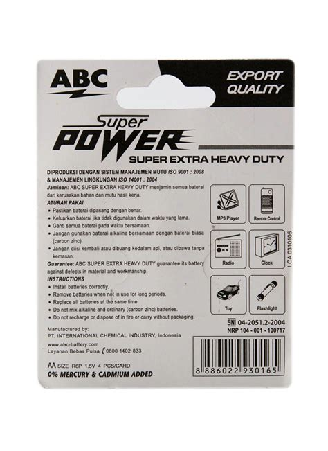 Batere Abc Aaa Power abc battery power r6 4 s pck klikindomaret