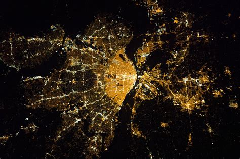 Report Street Light Out Saint Louis From The International Space Station At Night