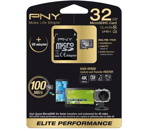 Micro Sd Pny Class 10 pny elite performance class 10 microsd memory card 32 gb deals pc world