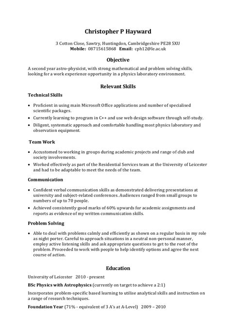 Personal Skills For Resume by Exle Skills Based Cv