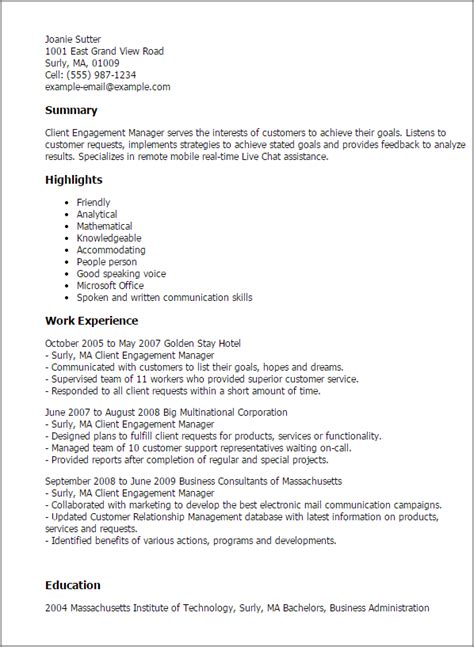 client engagement manager resume template best design
