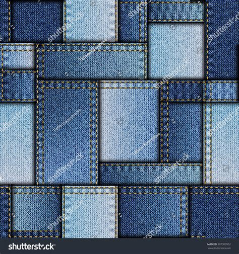 Patchwork Denim Fabric - seamless background pattern patchwork of denim fabric