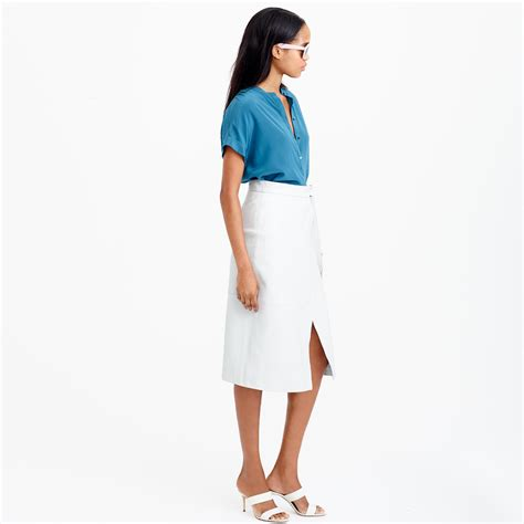 j crew collection leather wrap skirt in white lyst