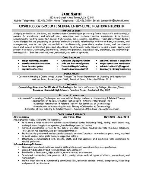 cosmetology resume sles beautician cosmetologist resume exle