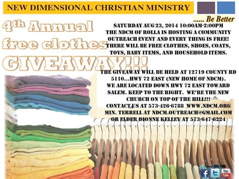 Free Christian Giveaways - flyersup free clothing giveaway at new dimensional christian rolla phelps mo