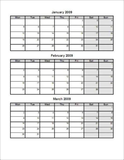 printable calendar 3 months per page template