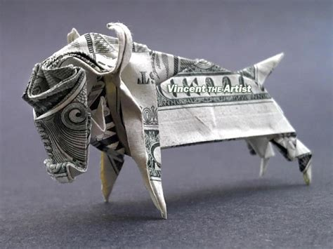 Origami Ox - ox money origami farm animal made of vincent the artist