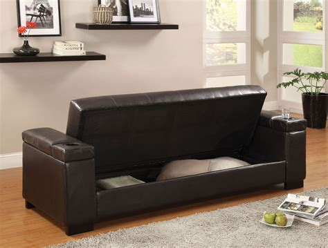 Storage Futons by Logan Leatherette Futon Storage Sofa From Furniture Of