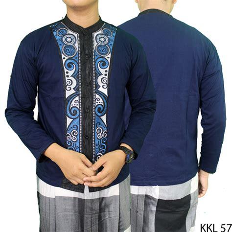 Baju Koko Lengan Panjang Katun baju koko lengan panjang keren katun biru dongker kkl 57