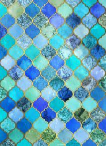 Cobalt blue aqua amp gold decorative moroccan tile pattern art print by