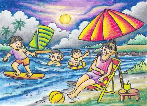 wallpaper anak pantai mewarnai langit ungu youtube