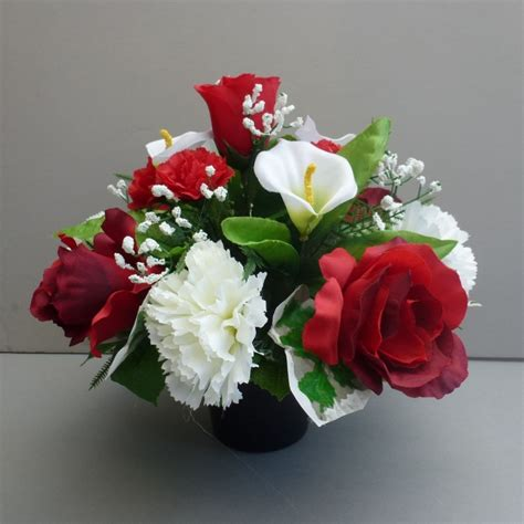 Artificial Vase Flowers by Pot For Memorial Vase With Artificial Roses Carnations