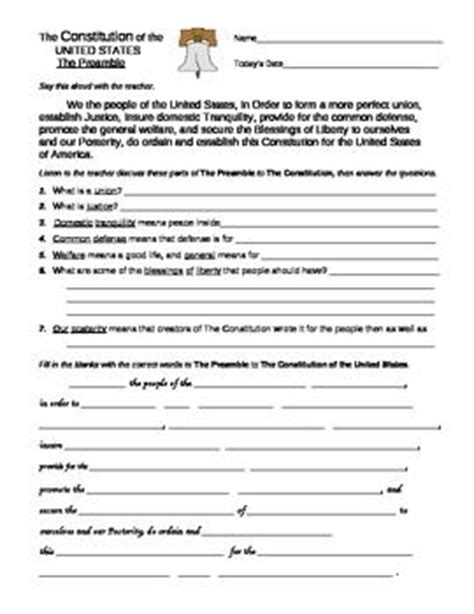 Us Constitution Worksheets by U S Constitution Preamble And Bill Of Rights Worksheets