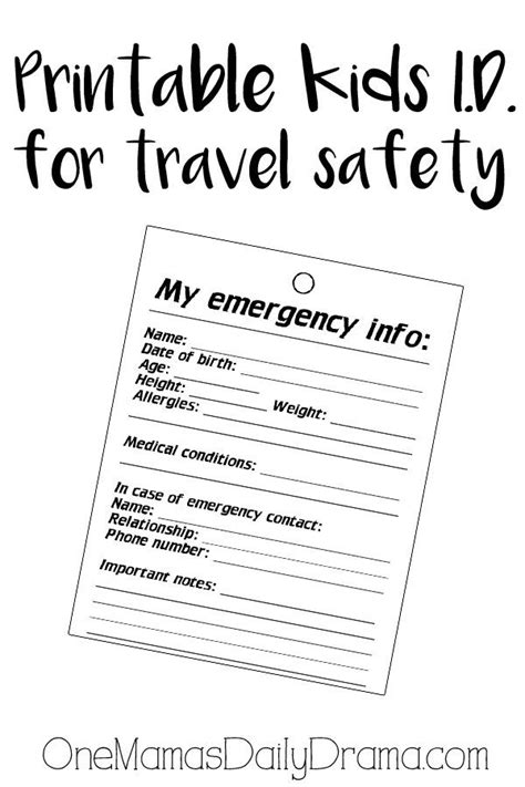 Child Emergency Information Card Template by Printable Identity Badge Badges Safety