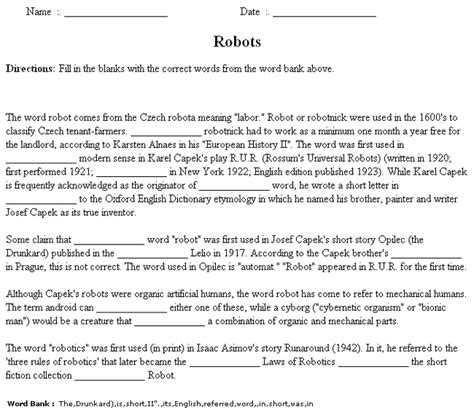 Cloze Worksheet Maker Sample